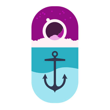 marine anchor on the background of the sea and sky. Vector background illustration