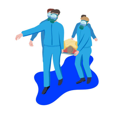 Doctors in blue protective coveralls carry patient on stretcher. Transportation of patient by virus. Drawing vector isolated on white background.