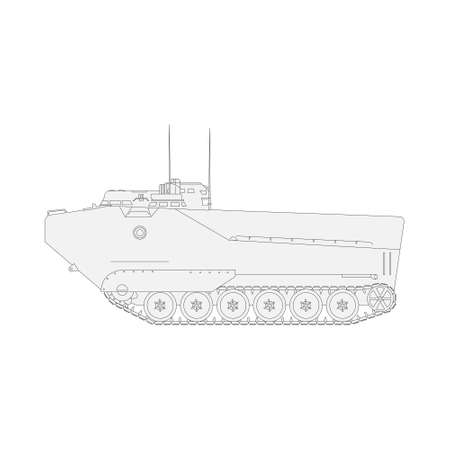 Tank isolated on white background. Vector Military machine.
