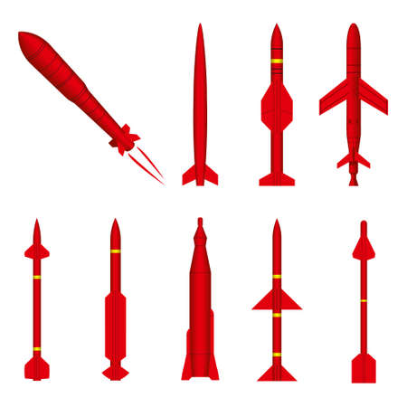 Set of military Missile on white background different forms and red colors it is powerful and terrible weapon. cruise and bolistic missiles, concept is rocket armament