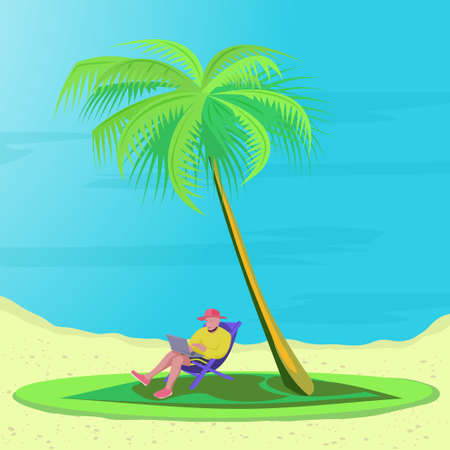 Bearded man is lying on a deck chair on the beach with laptop under the palm trees. Concept telework, freelance and freedom. Male characte with computer on lap. Illustration in flat style
