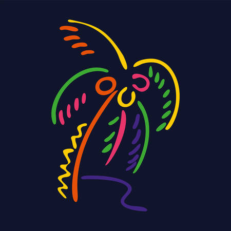 Neon style palm tree   on dark background. Drawing vector