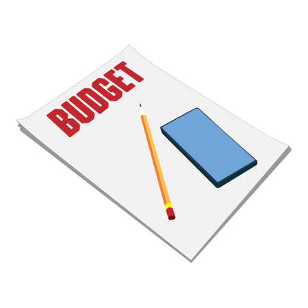 Sheets of paper budget plan, pencil, and smartphone on the table. Vector isolated on white background. 矢量图像