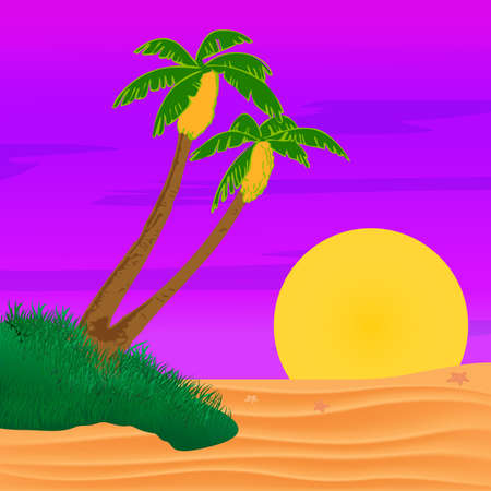 Evening on the beach with palm trees. Colorful picture for rest. Lilac palm trees and lilac sunset in the sky.