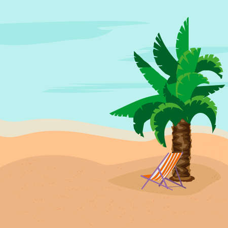 Summer rest. Sunny day. Deck chairs under the palm tree. Warm sea. Concept of relaxation. Vector illustration.