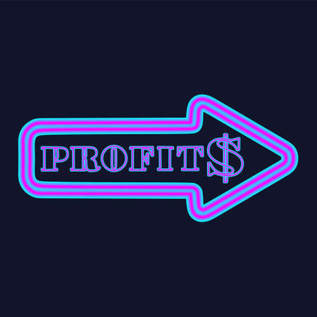 Glowing neon arrow with dollar symbol and the inscription profit. Business concept. Vector Illustration
