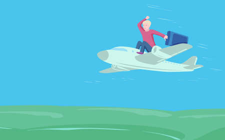 Happy businessman with suitcase sit on top of airplane. Business travel and transportation concept. EPS10 vector illustration 矢量图像