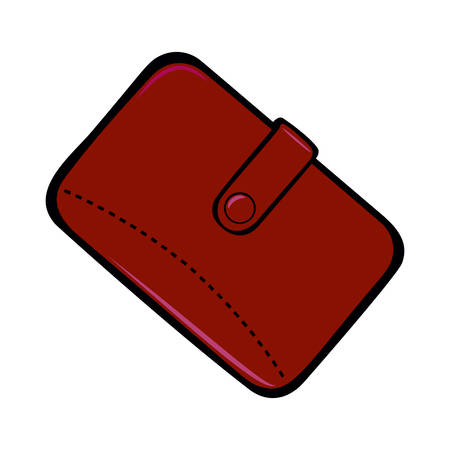 Mens brown wallet with a button closure. Mens accessory. Vector illustration Isolated on White Background 免版税图像 - 148301980