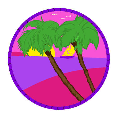 Evening on the beach with palm trees. Colorful picture for rest. Lilac palm trees, bright big sun and lilac sunset in the sky. 矢量图像