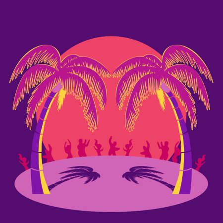 Silhouette party people and palm trees on beach under sunset sky background. Vector illustration 免版税图像 - 148459418