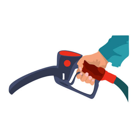 Fuel pump in hand man. Petrol station. Holding fuel nozzle. Gasoline pump with drop. Vector illustration flat design style. Icon isolation on a white background.