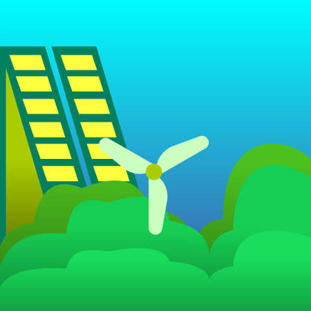 Solar panel and wind generator. Vector illustration. Green Eco city ecology vector background concept 免版税图像 - 149025000