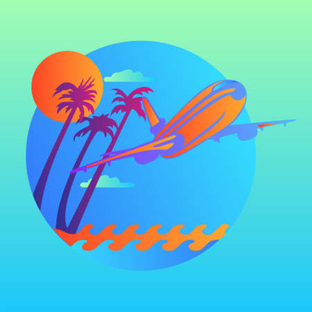 Vector island trendy and modern for travel symbol. Plane flying over the waves and tropical island. Vector illustration . Illusztráció