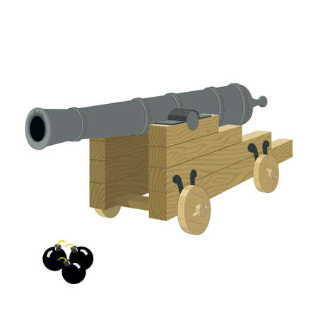 Antique pirate sea gun on a wooden carriage with cannonbals on a white background.