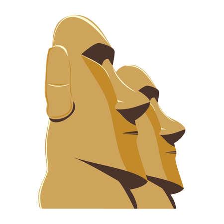 Moai Monolithic Statues Polynesia Easter Islands, vector.