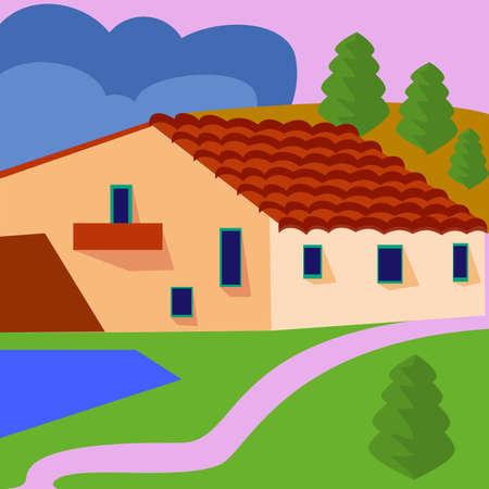 Farm landscape with fields and farmhouse. Vector 免版税图像 - 151219365