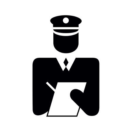 Policeman in uniform writing a ticket, black and white icon 免版税图像 - 151396043