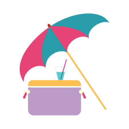Concept sea vacation, umbrella, refrigerator and cool cocktail vector illustration