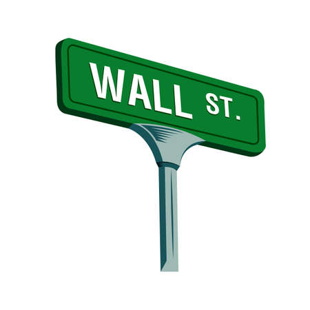 Wall street sign in New York, vector illustration
