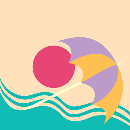 Summer vacation poster concept.. Water slide on the sea beach with beach umbrella. Stock Illustratie