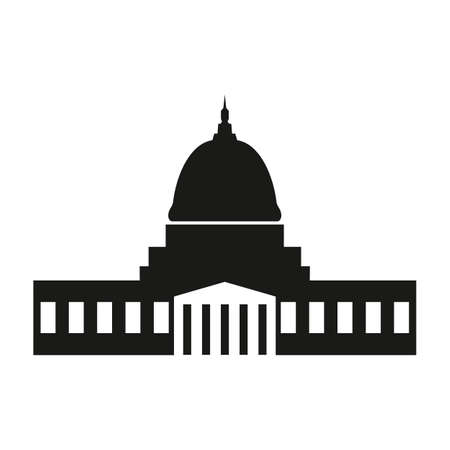 Washington capitol with tall columns black monochrome silhouette isolated. 免版税图像 - 151442916