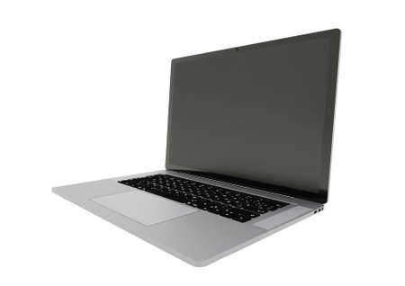 Side view of Open laptop computer. Laptop isolated on a white background. 免版税图像