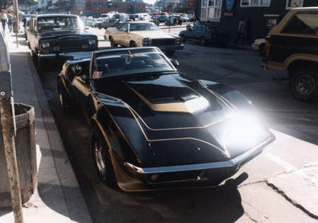 corvette: Shiny Black Corvette in the Sun