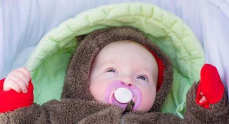 A baby dressed in a Teddy bear costume lies in a pram with a pacifier in her mouth.