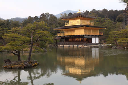 rokuonji: kinkakuji temple or temple of the golden pavilion, popular buddhist temple in kyoto, japan