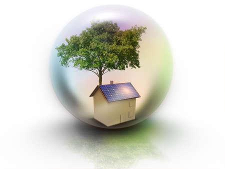 radiacion solar: Maison photovoltaique dans Goutte d'eau