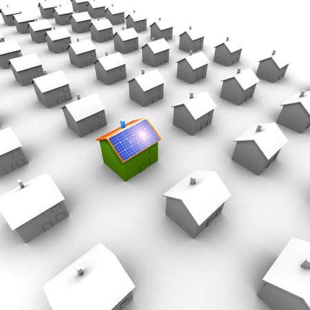 radiacion solar: Maison au milieu photovoltaique