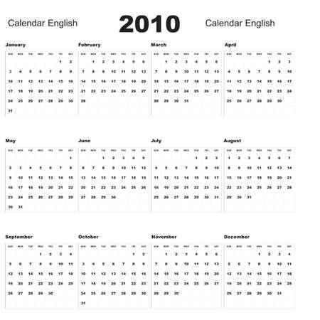 English Calendar 2010 Stock Vector - 5705845