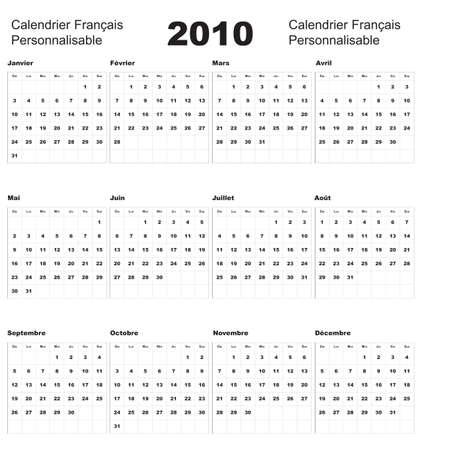French Calendar 2010 Vector