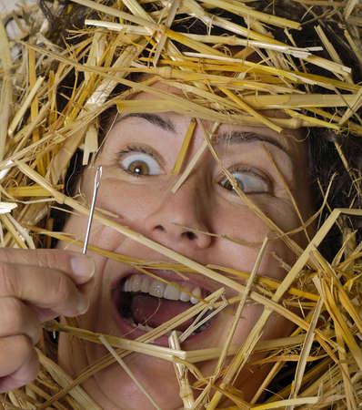 La mujer encuentra una aguja en un haystack! Foto de archivo - 272851