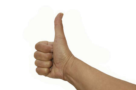 affirmation: Thumbs up sign on white background