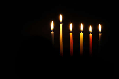 chanuka: Chanuka candles lit for the fifth night. Stock Photo