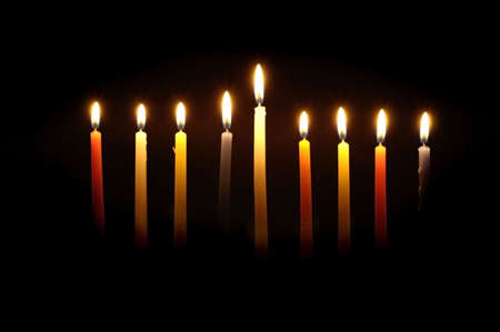 Chanuka candles lit for the eighth night. Stock Photo - 285614