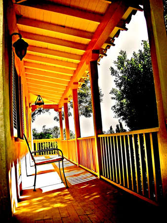 overhang: Artistic silhouette of country beach house porch Stock Photo