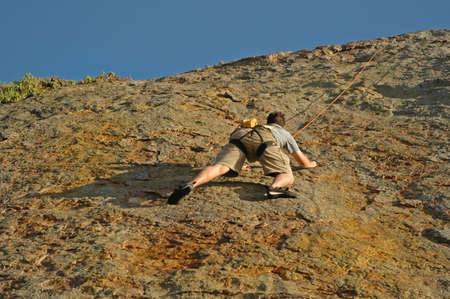 handhold: Climber gets close to summit