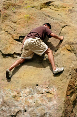 Man climbing at an impasse