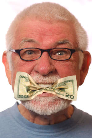 Man with money in mouth signifying expression