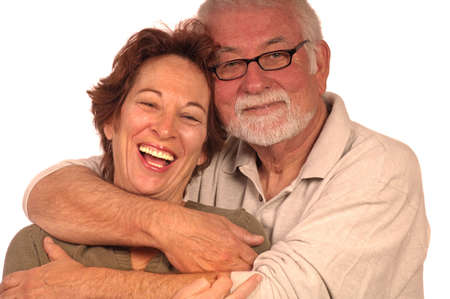 family tickle: A happy loving couple embracing Stock Photo