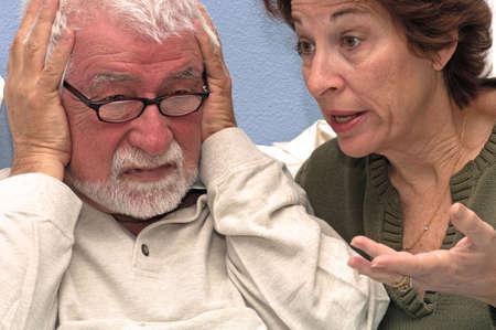 miscommunication: Woman talks at her husband