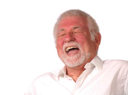 Portrait of man having a big laugh