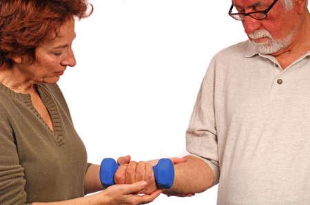 helps: Woman helps man regain strength