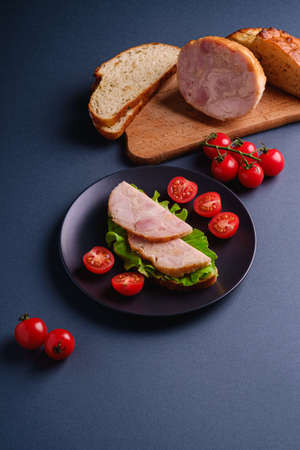 Sandwich with turkey ham meat, green salad and fresh cherry tomatoes slices on black plate near to ingredients on cutting board, blue minimal background, angle view