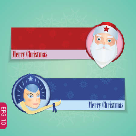 maiden: Christmas banners with santa claus and Snow maiden