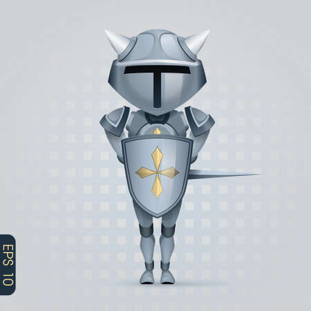 the crusades: crusader knight with a big head is covered with a shield Illustration