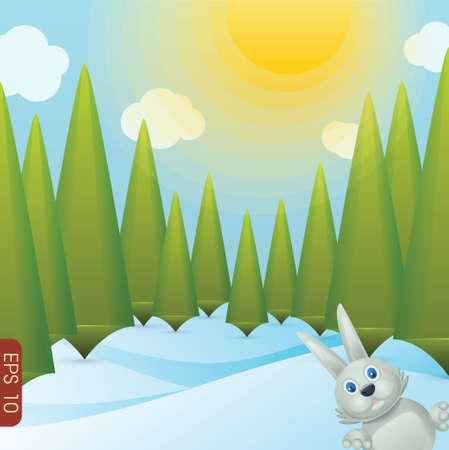 coppice: snowy forest glade with trees and bunny