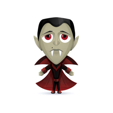vlad: Character sad vampire in a dark suit and with a mole near his nose